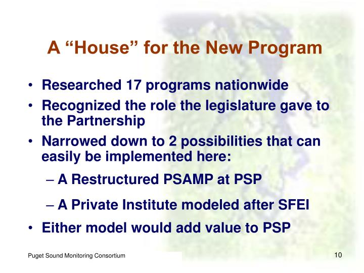 """A """"House"""" for the New Program"""