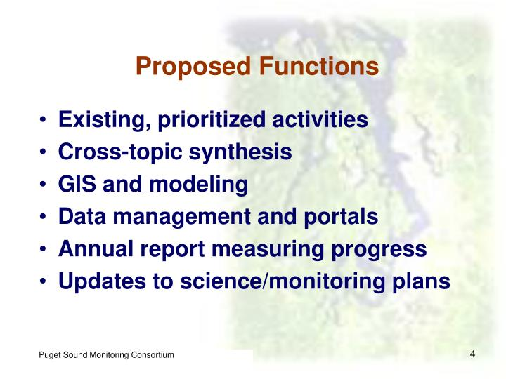 Proposed Functions