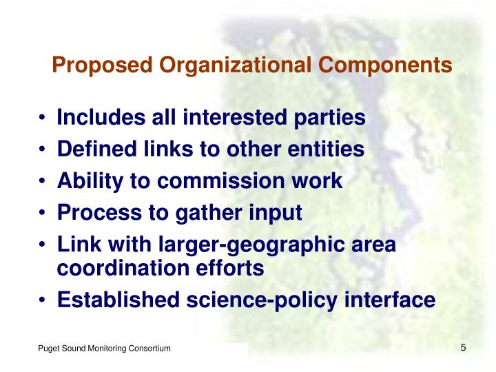 Proposed Organizational Components