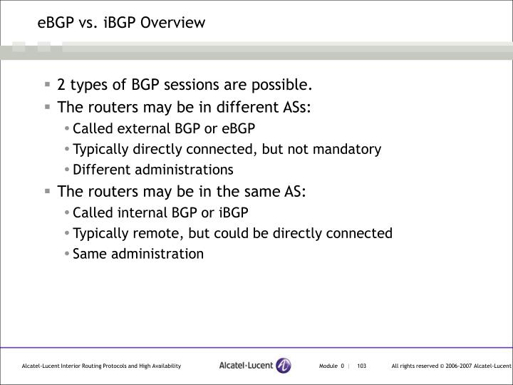 eBGP vs. iBGP Overview
