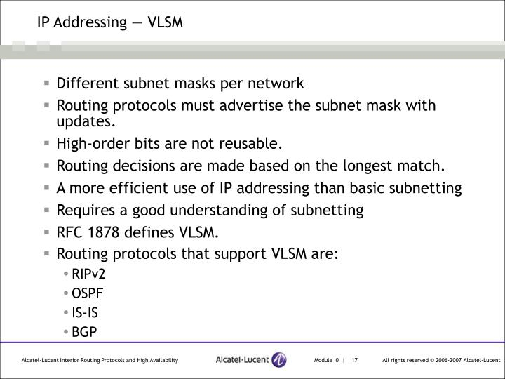 IP Addressing — VLSM