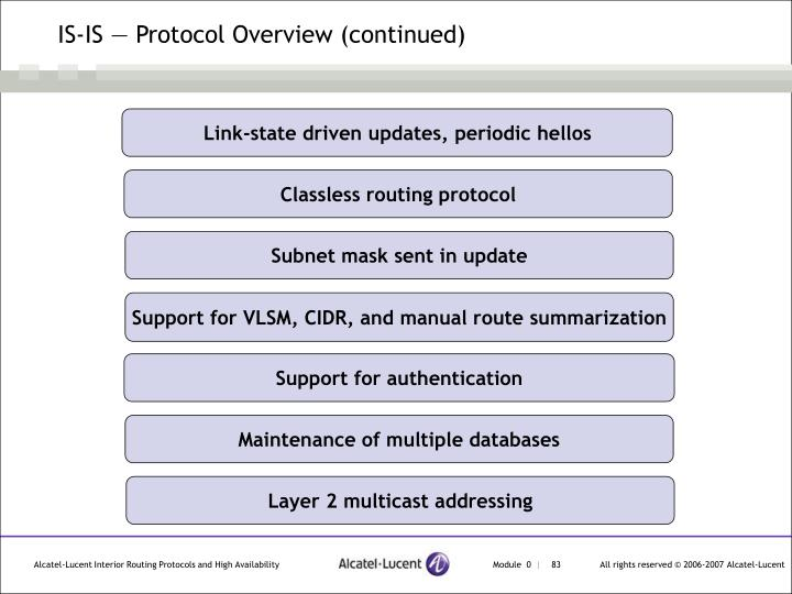 IS-IS — Protocol Overview (continued)