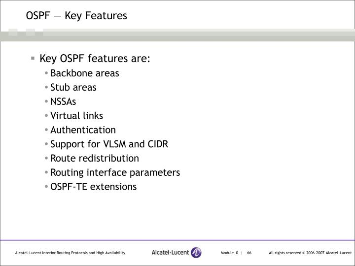 OSPF — Key Features