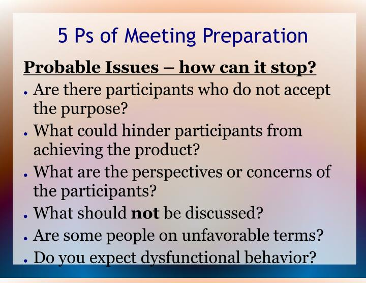 5 Ps of Meeting Preparation