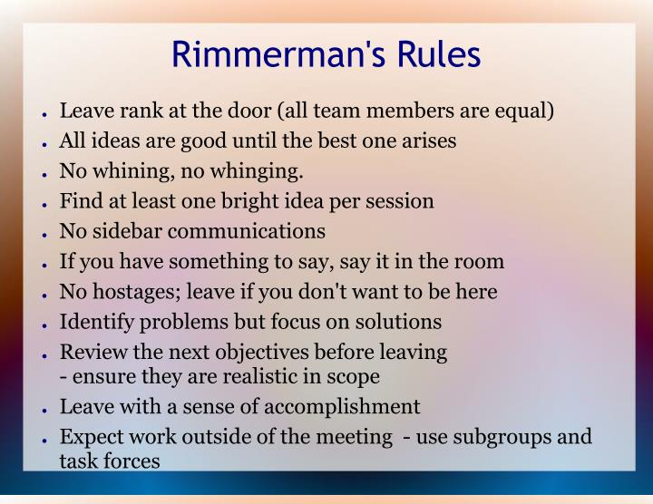 Rimmerman's Rules