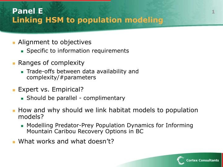 panel e linking hsm to population modeling n.