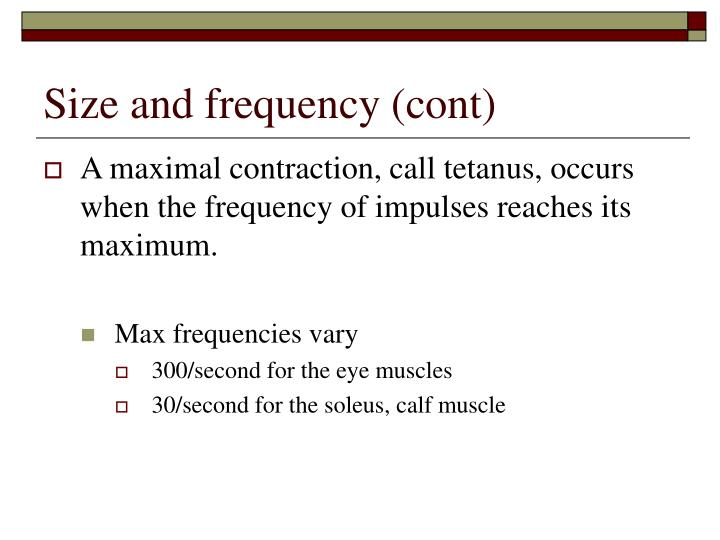 Size and frequency (cont)