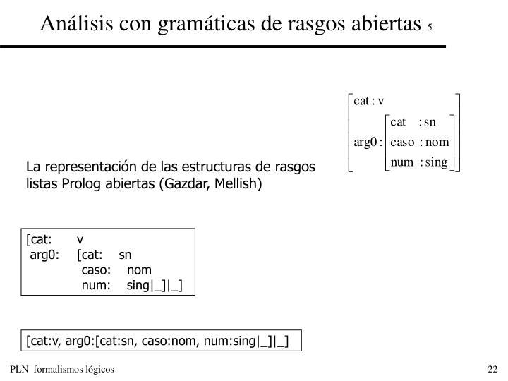 Análisis con gramáticas de rasgos abiertas