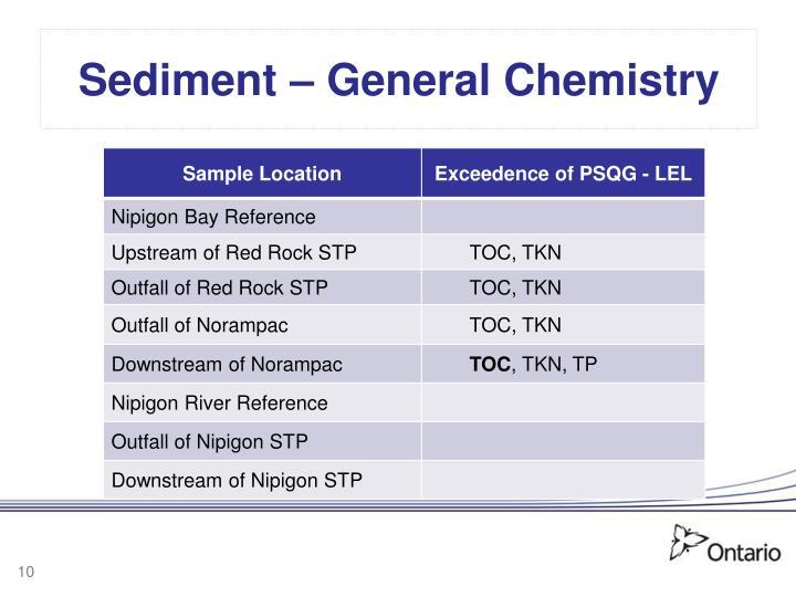 Sediment – General Chemistry