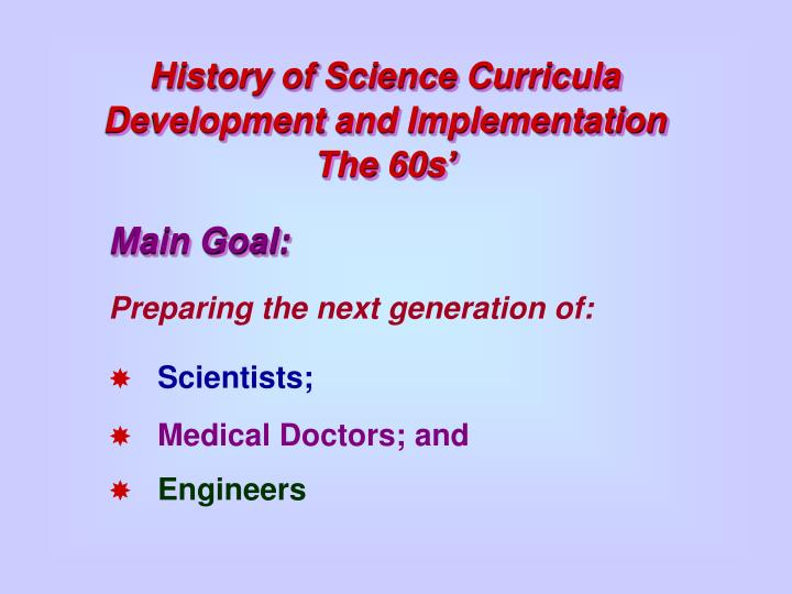History of Science Curricula