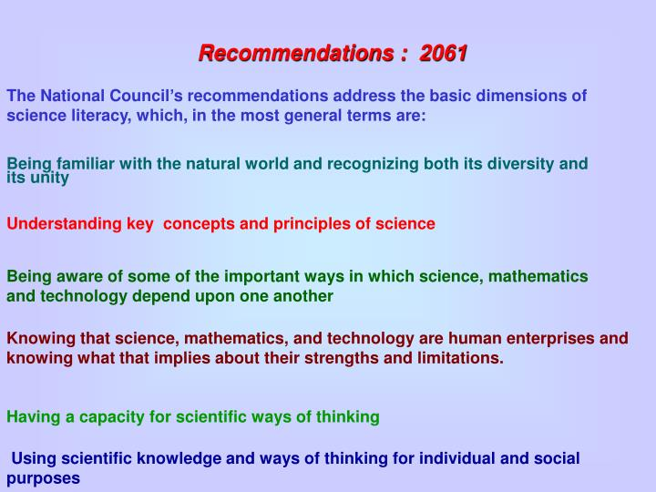 Recommendations :  2061