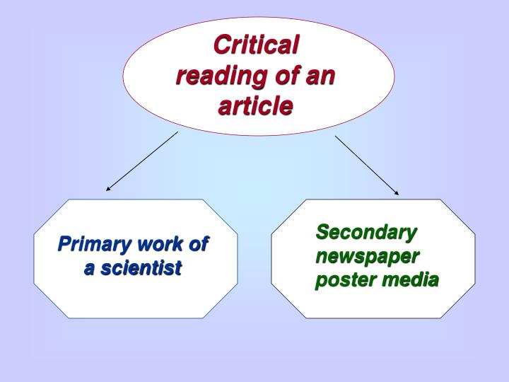 Critical reading of an article