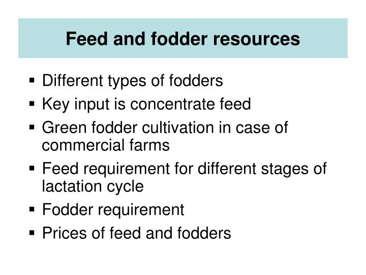 Feed and fodder resources