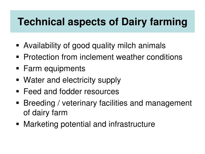 Technical aspects of Dairy farming