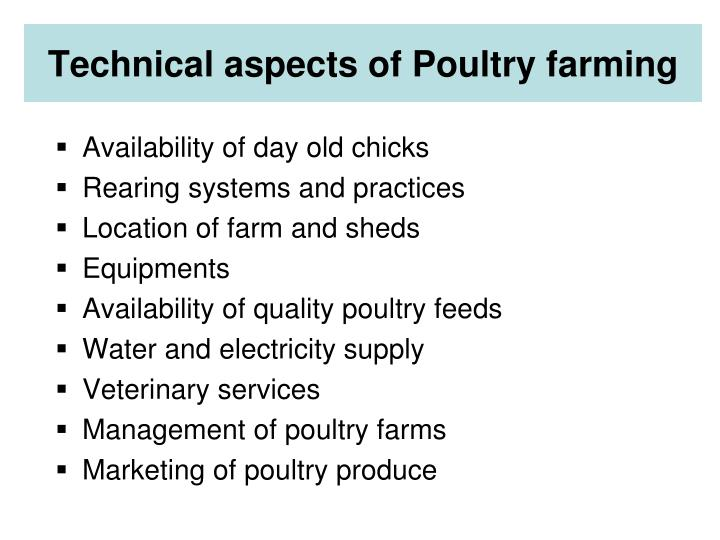 Technical aspects of Poultry farming