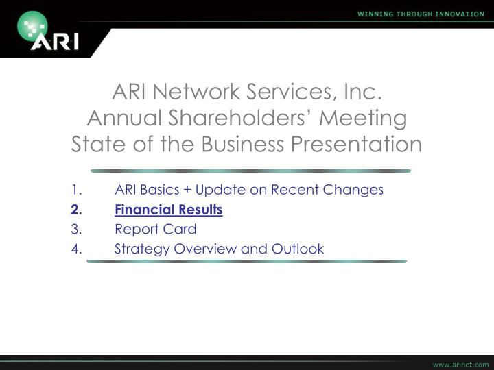 ARI Network Services, Inc.