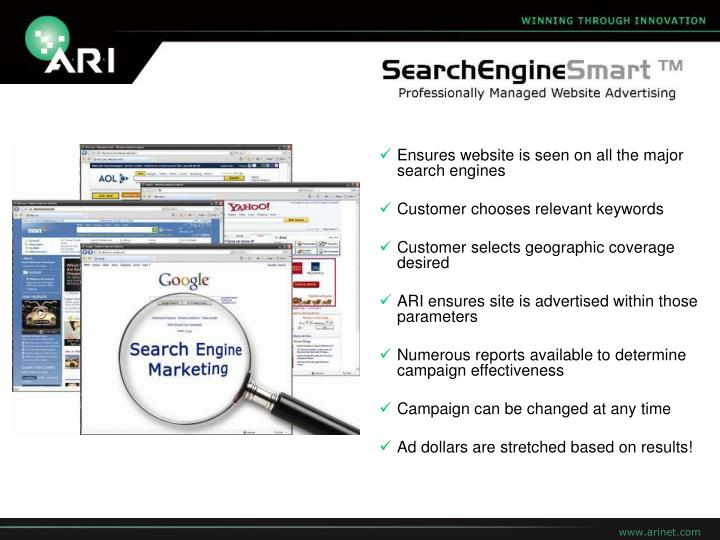 Ensures website is seen on all the major search engines