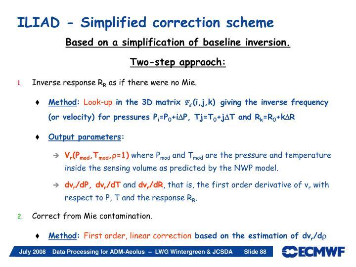 ILIAD - Simplified correction scheme