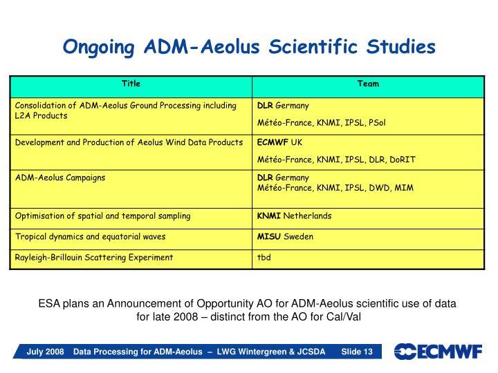Ongoing ADM-Aeolus Scientific Studies