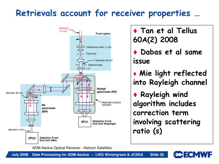 Retrievals account for receiver properties …