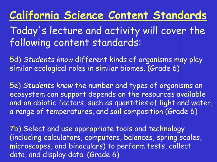 PPT - California Science Content Standards PowerPoint