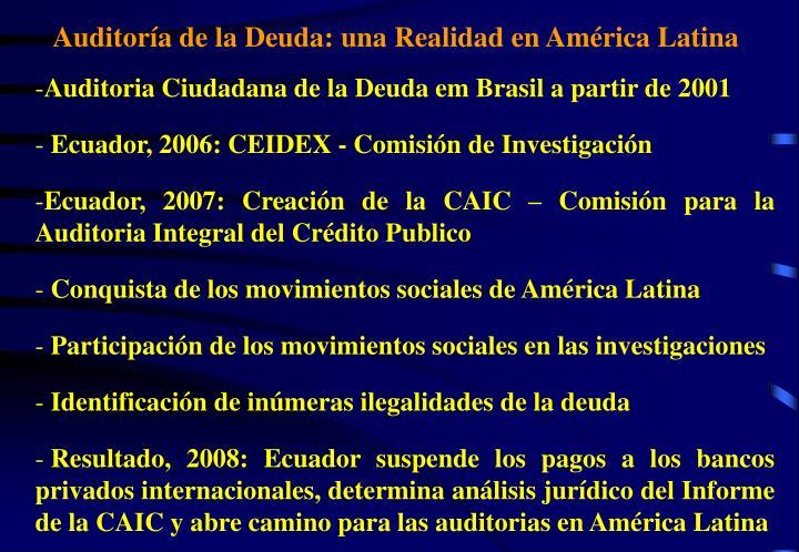 Auditoría de la Deuda: una Realidad en América Latina