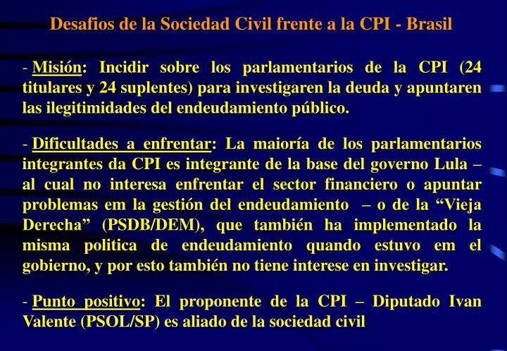 Desafios de la Sociedad Civil frente a la CPI - Brasil