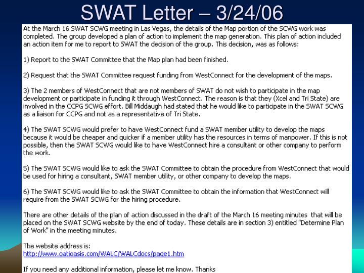 SWAT Letter – 3/24/06