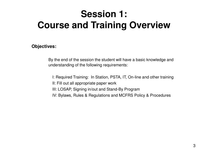 Session 1 course and training overview