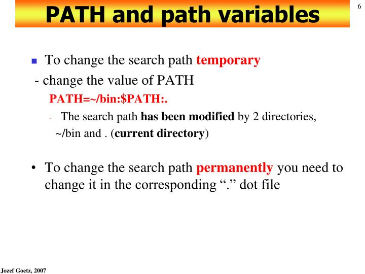 PATH and path variables