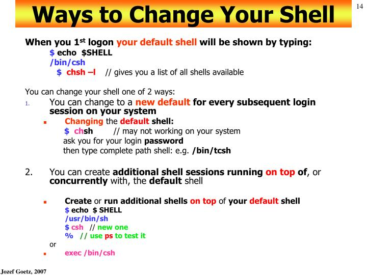 Ways to Change Your Shell