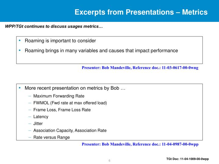 Excerpts from Presentations – Metrics