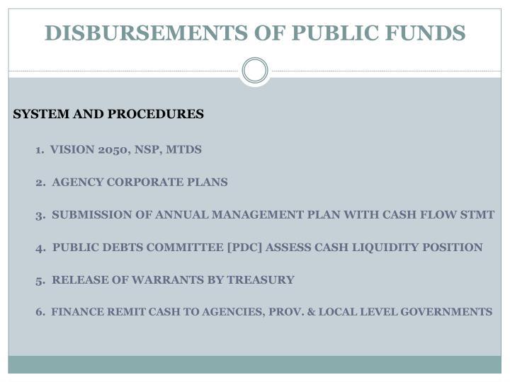 Disbursements of public funds