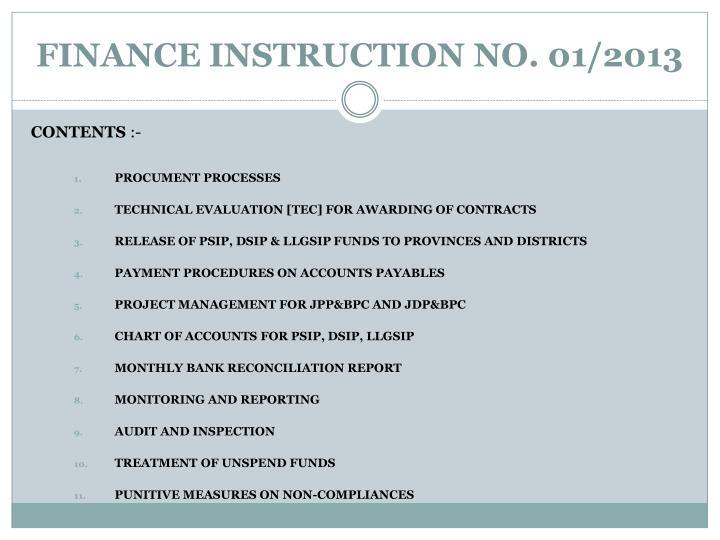 FINANCE INSTRUCTION NO. 01/2013