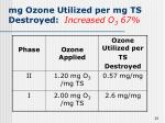 mg ozone utilized per mg ts destroyed increased o 3 67
