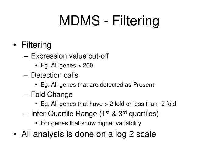 MDMS - Filtering
