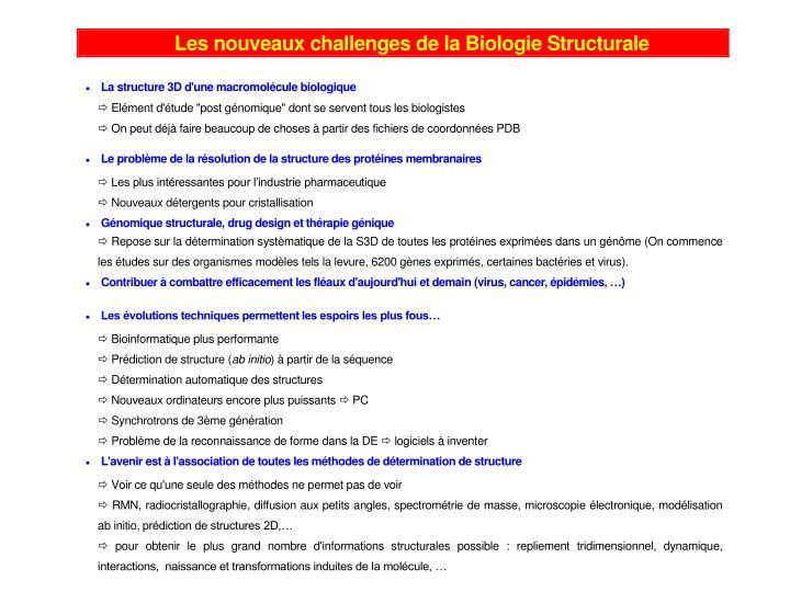 Bioinformatique et biologie structurale 1 principes et techniques