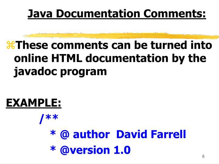 Java Documentation Comments: