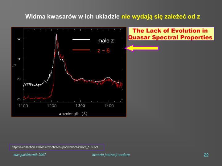 Widma kwasarów w ich układzie