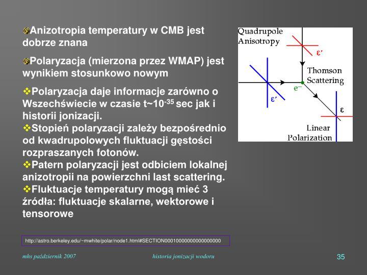 Anizotropia temperatury w CMB jest dobrze znana