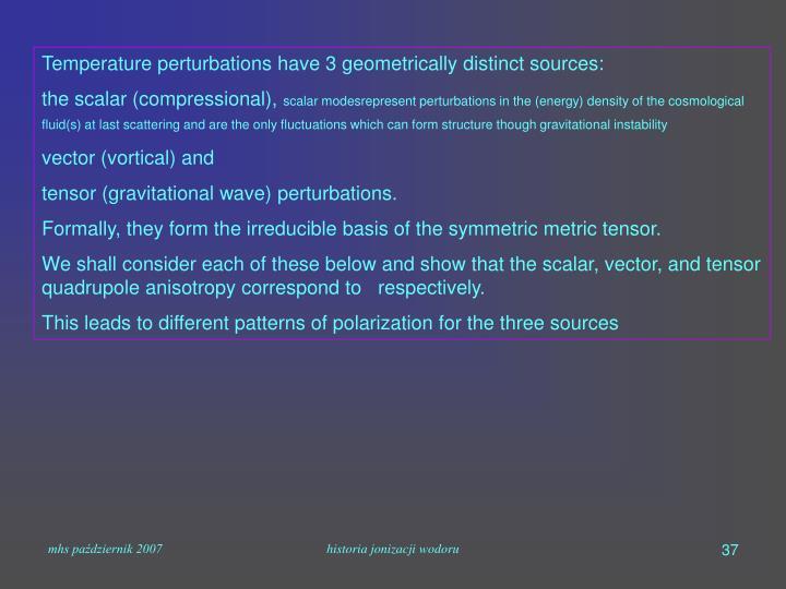 Temperature perturbations have 3 geometrically distinct sources: