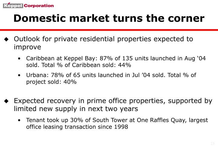 Domestic market turns the corner