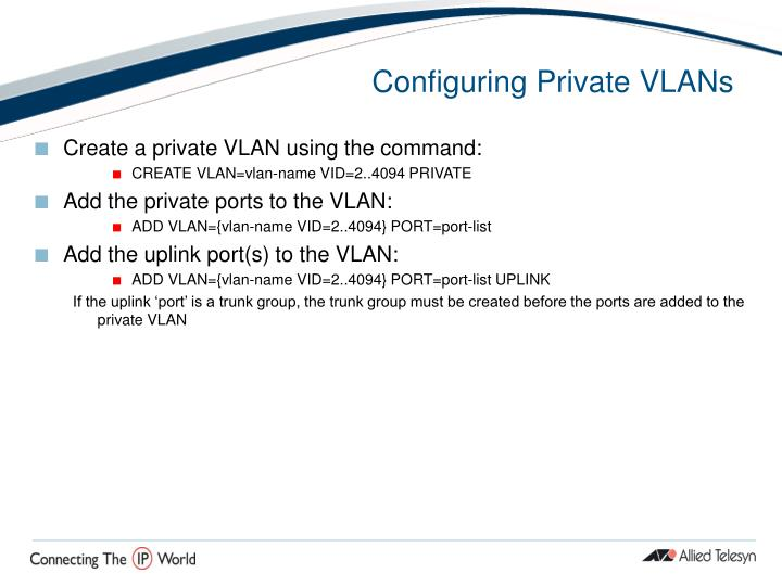 Configuring Private VLANs