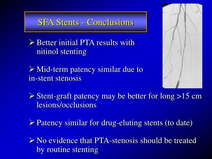 SFA Stents - Conclusions