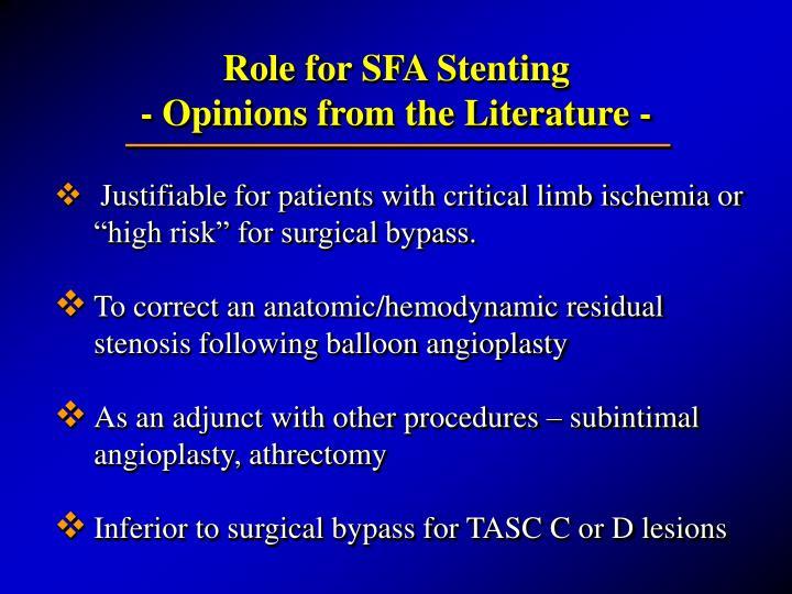 Role for SFA Stenting