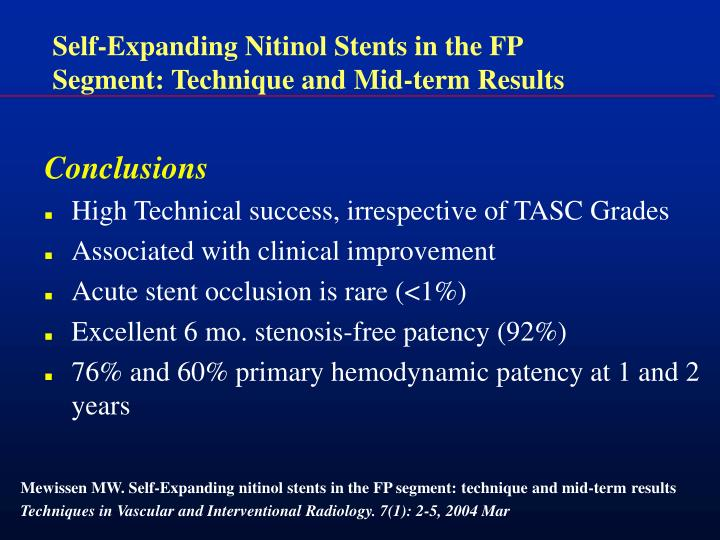 Self-Expanding Nitinol Stents in the FP Segment: Technique and Mid-term Results