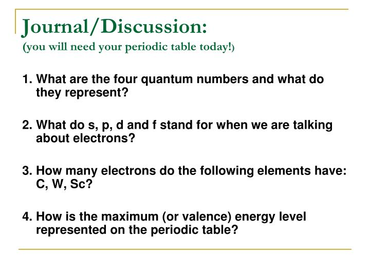 Ppt Journaldiscussion You Will Need Your Periodic Table Today. Journaldiscussionyou Will Need Your Periodic Table Today 1 What Are The Four Quantum Numbers. Worksheet. Quantum Numbers Worksheet 1 At Clickcart.co