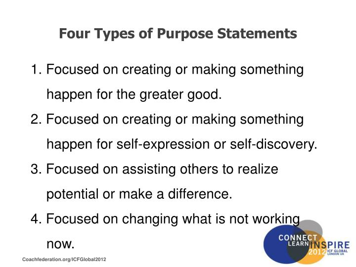 Four Types of Purpose Statements