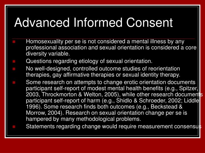Advanced Informed Consent