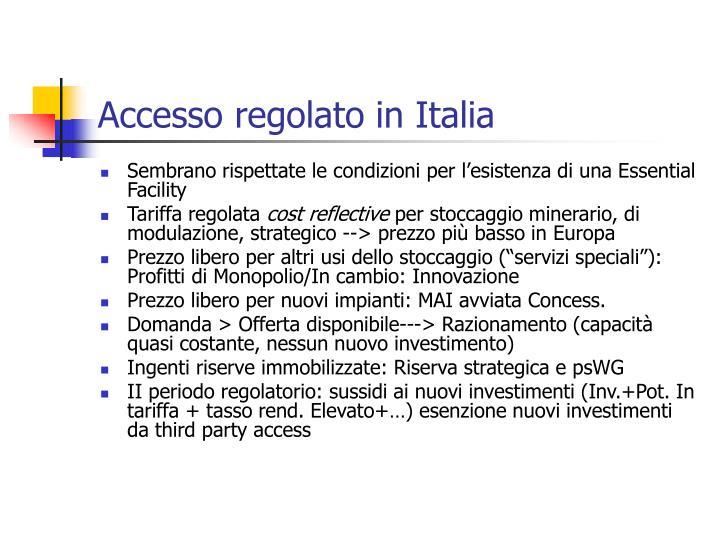 Accesso regolato in Italia